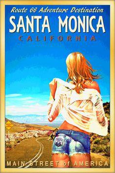SANTA MONICA California Original ROUTE 66 Travel Poster Pin Up Art Print 160 #Cutoffs