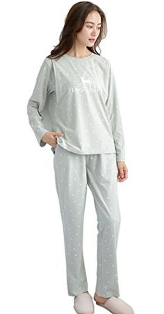 b27495eff3e13 Modern Mummy Womens Deer Printing Maternity Nursing Sleepwear Breastfeeding  Pajamas Set Green Small -- More