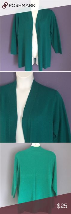 "JM Collection Green Sweater Cardigan This gorgeous green cardigan is the perfect piece to keep you warm.  Pair with a skirt, pants or jeans to create an outfit of your choice. Material:  88% Acrylic/12% Nylon.  Measurements (Flat):  Length - 31""/Bust - 27""/Waist - 26.5"" JM Collection Sweaters Cardigans"