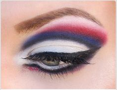 Dramatic red, white and blue - Patriots eye makeup