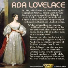 """Who is Ada Lovelace? English mathematician Ada Lovelace is widely considered the world's first Computer Programmer. I Look To You, The More You Know, Great Women, Amazing Women, Beautiful Women, Ada Lovelace, Slogan, Badass Women, Interesting History"