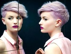 Grey hair or pixie cut? In this post you will find the best images of Pixie Haircut for Gray Hair that you will love! Hair trends come and. Short Lilac Hair, Purple Pixie, Purple Hair, Pastel Pixie, Pastel Hair, Bright Hair, Pastel Purple, Colorful Hair, Light Purple