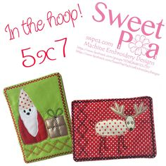 Christmas gnome and reindeer mugrug set 5x7 in the hoop machine embroidery designs