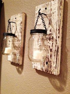 Rustic barn wood Hanging mason jar candle lights For 2015 new year - Mason Jar crafts, home decor, 2015 indoor decorations