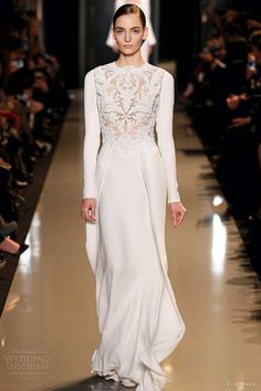 elie saab spring summer 2013 couture long sleeve white dress. OMG......LOVE LOVE LOVE