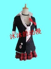Full set New Danganronpa Dangan Ronpa Junko Enoshima Cosplay Costume Stocked anime harajuku shirt+coat+skirt+red bow+tie(China (Mainland))