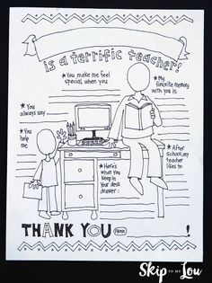 2017 PDF {My Teacher Coloring Page} Download and print as many copies as you like. It would be sweet for an entire class to fill these out for their teacher! What a nice keepsake they would make. With so many online photo book options it would be cool to make a photo book with one page the child's photo and the opposite page their teacher coloring page.
