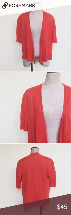 Eileen Fisher Linen Open Cardigan Gorgeous Eileen Fisher open front cardigan. Gorgeous knit in red-orange. Perfect for spring!  100% linen. Size medium. In excellent pre-worn condition. No flaws. No trades! Eileen Fisher Sweaters Cardigans