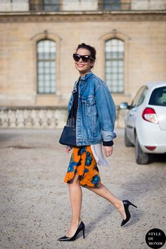 denim jacket with pop of print #fall Found on styledumonde.com