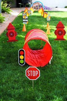Fire fighter birthday party ideas // kids outdoor activity