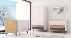 Habitaciones infantiles Colección ART, de Alondra. Habitación para bebés, cuna convertible en camita junior y escritorio. Diseño y elegancia para bebés: http://www.alondra.es/habitaciones-infantiles/art-muebles-madera-bebe-XH381T-3360