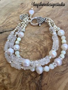 Pearl moonstone crystal quartz and mother of pearl multi strand bracelet wedding bracelet Making Bracelets With Beads, Gemstone Bracelets, Handmade Bracelets, Bracelet Making, Handmade Jewelry, Strand Bracelet, Diy Jewelry, Handmade Wire, Jewelry Trends