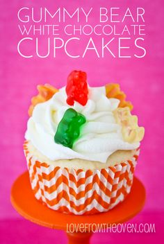 Gummy Bear Cupcakes by Love From The Oven.  A little crazy, a lot delicious.  The white chocolate frosting is amazing!