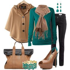 """Cape: Camel & Teal"" by heather-rolin on Polyvore"