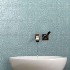 Pressed Metal Look Wall Tile Laundry In Bathroom, Bathroom Wall, Small Bathroom, Master Bathroom, Bathroom Ideas, Cool Furniture, Furniture Ideas, Decorative Wall Tiles, Pressed Metal