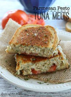 Parmesan Pesto Tuna Melts - Belle of the Kitchen #tunamelt #easydinner #recipe