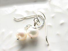 Pearl earrings sterling silver freshwater by JanuaryGirlJewelry, $18.00