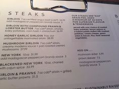 Menu options, Moxie's Grill & Bar 1360 Island HyCampbell River