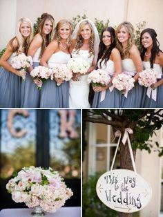 Dusty blue bridesmaids with light pink flowers by bridgett