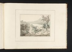 Joseph Mallord William Turner, Thomas Girtin 'Lago Di Vico from the Hill of Viterbo',   --   From Album of Copies of Italian Views for Dr Thomas Monro  --   c.1794–8 -  Ink wash and watercolour on paper -  Collection -  Tate