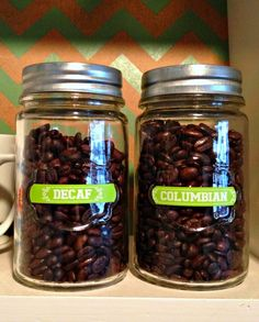 Store coffee beans in jars with cute coffee labels. @heathermann1 #Brother #LabelIt