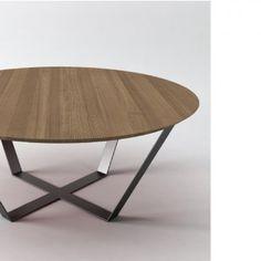 Row ronde design salontafel met houten blad - Depot Design