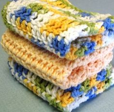 Hand Made Crocheted 100 Percent Cotton Spa Cloths - Wash Cloths - Facial Cloths - Dish Cloths (Eco-Friendly) - CraftStylish