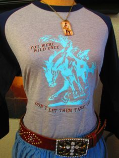 Silk Screen T Shirt, 3/4 Sleeve Tee shirt, Sassy T Shirt, Bucking Horse T Shirt on Etsy, $21.50