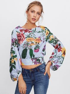 Shop Bishop Sleeve Tie Back Mixed Print Top online. SheIn offers Bishop Sleeve Tie Back Mixed Print Top & more to fit your fashionable needs. Moda Floral, Floral Stripe, Floral Tops, Sexy Blouse, Crop Blouse, Shirt Blouses, Chiffon Blouses, Tie Blouse, Floral Blouse