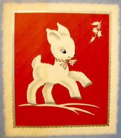 1930's Christmas Card. Christmas Lamb. Dancing Lamb. Vintage Christmas Card. Retro Christmas Card.