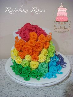 rainbow flower wedding cake 3 tiered cake cakes beautiful 18958