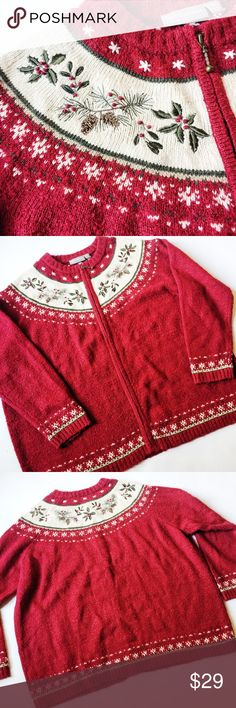 "Embroidered ""Ugly Christmas Sweater"" Embroidered ""Ugly Christmas Sweater"" in red and beige featuring embroidered holly design and zip front.  Great for holiday party festive spirit for him or her!  Wear with vintage turtleneck for the ultimate holiday look!  Pre-loved but in excellent condition.  Slight pilling from normal wash/wear.  No holes, stains or damage.   Measurements laying flat: Armpit to armpit: 25.5"" Waist (across): 26"" Total length: 25""  Sleeve length: 24"" croft & barrow…"
