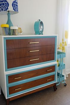 This would make such a great, fun, (my style) storage dresser in the office/studio space!  6th Street Design School | Kirsten Krason Interiors : Feature Friday: Teal & Lime