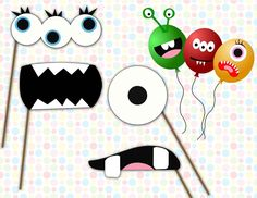 Image of Cute Monster Face Stickers or Photo booth props - printable diy monster birthday party decorations