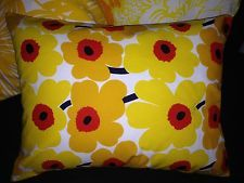 "Handmade 12""x16"" pillow cushion case cover Mini Unikko yellow Easter Marimekko"