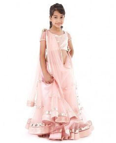 Baby Pink Flared Net Lengha Set-Soooo Cute for a little girl.