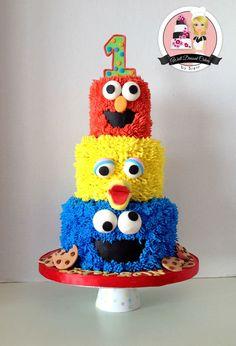 3 Tier Sesame Street Birthday Cake on Cake Central