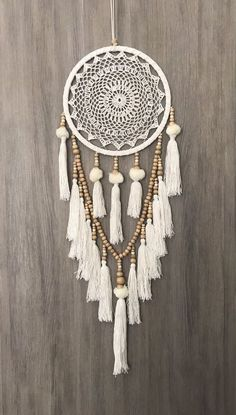 26.5cm Boho Crochet Web Dream Catcher White/Cream Pom Poms Tassels & Wood Beads in Home & Garden, Home Décor, Other Home Décor | eBay!