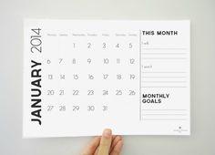Printable Monthly Calendar for 2014 - 12 Month Calendar - Monthly Goals - Digital PDF File
