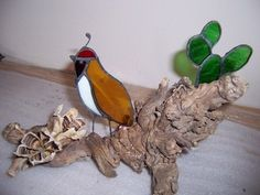 Stained Glass Amber Quail on Driftwood with Prickly Pear Cactus - Sculpture   Designs-in-Stained-Glass - Glass on ArtFire