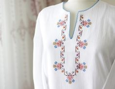 White cotton blouse for women  peasant top peasant top by soStyle, $25.00