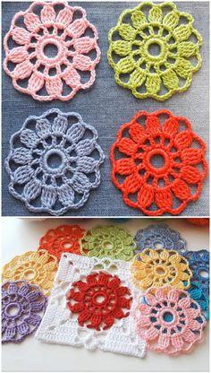 Crochet Easy Flower Motif - We Love Crochet # crochet motif easy Crochet Easy Flower Motif - We Love Crochet Crochet Motifs, Granny Square Crochet Pattern, Crochet Squares, Crochet Stitches, Flower Granny Square, Crochet Flower Tutorial, Crochet Flower Patterns, Crochet Flowers, Knitting Patterns