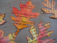 Tutorial...cut out leaves from old book pages & then use distress inks to add color.