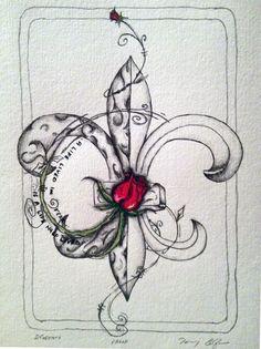 Rose Fleur-de-lis - 2B + Oil Pastels on Watercolor Paper - 8 x 10 - SOLD