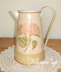 Chic Victorian Shabby Cottage Tin/Metal Pitcher/Vase PINK HYDRANDEAS  Large