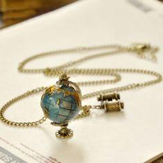 Collier longue exquise rétro Forme de globe terrestre