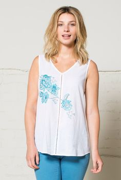 Embroidered Vest White