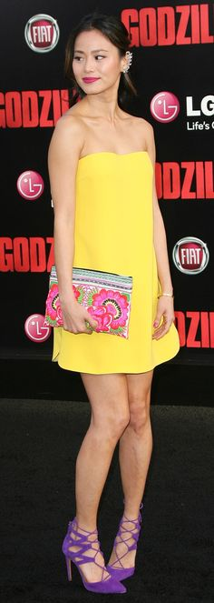 Jamie Chung wears a strapless yellow shift dress at the premiere of 'Godzilla' in Los Angeles, California, on May 8, 2014