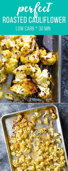 The EASIEST parmesan roasted cauliflower recipe that is loved by all. An easy ha… The EASIEST parmesan roasted cauliflower recipe that is loved by all. An easy hands-off side dish! Low carb, gluten-free and kid-friendly. Colliflower Recipes, Radish Recipes, Roast Recipes, Side Dish Recipes, Cooking Recipes, Roasted Califlower, Parmesan Roasted Cauliflower, Cauliflower Salad, Vegetable Recipes