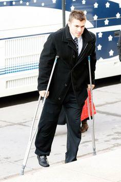Roman Josi, Knee Surgery, Minnesota Wild, Burns, Hockey, Two By Two, Coat, Crutches, Jackets